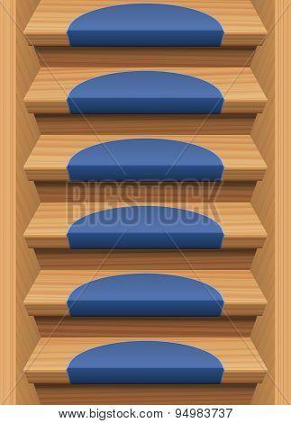 Wooden Stairs Treads Mats Blue Endless