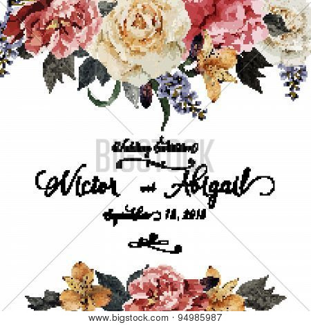 Greeting Card With Roses, Watercolor, Can Be Used As Invitation Card For Wedding, Birthday And Other