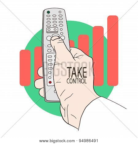 Handheld remote control in hand