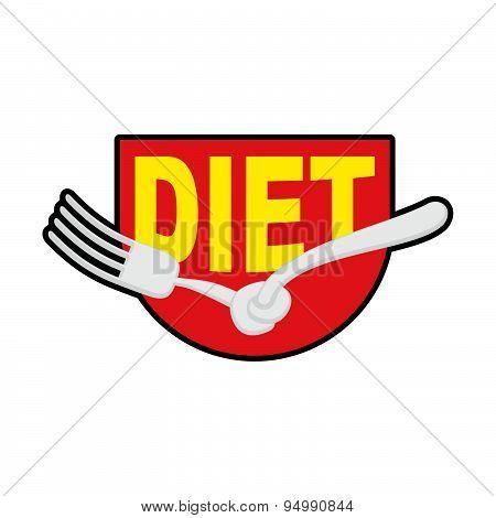 Diet logo, sign. Emblem of Fork with node. Patch stop food. Forbidden to eat. Vector illustration