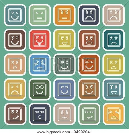 Square Face Line Flat Icons On Green Background