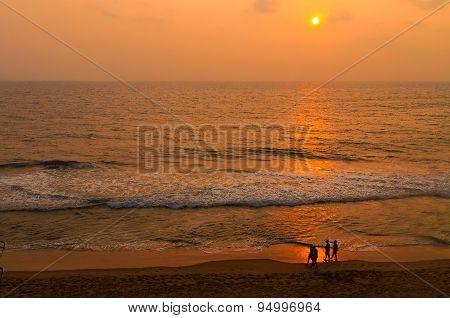 Varkala Beach At Sunset