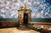 Walled Fortification with a surreal dramatic sky lightnings effect poster