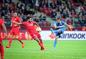 WARSAW POLAND - MAY 27 2015: Matheus of FC Dnipro (R) fights for a ball with Benoit Tremoulinas of FC Sevilla during their UEFA Europa League Final game at Warsaw National Stadium poster