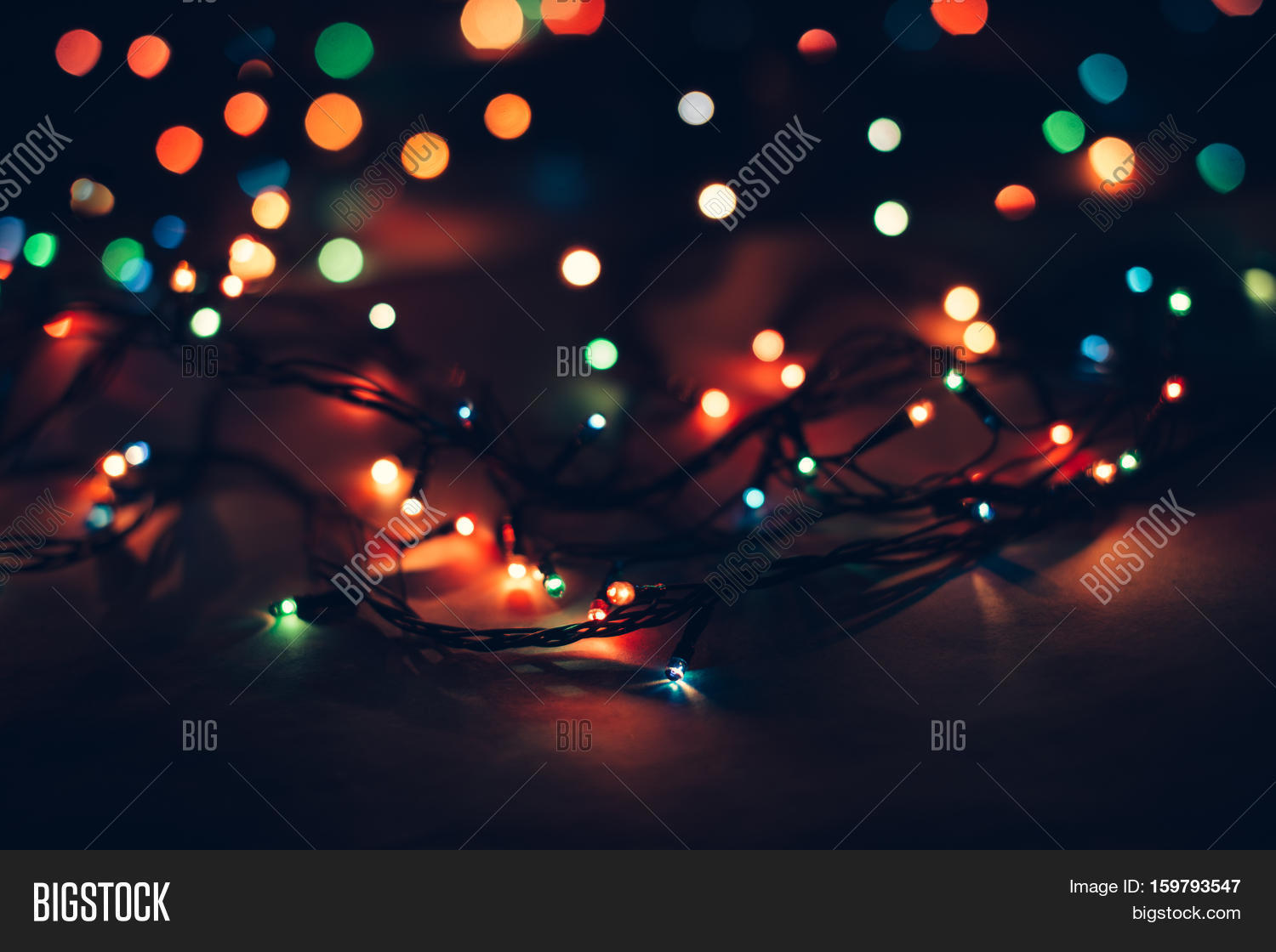 Christmas Lights And Vintage Lantern On Black Background Merry Happy
