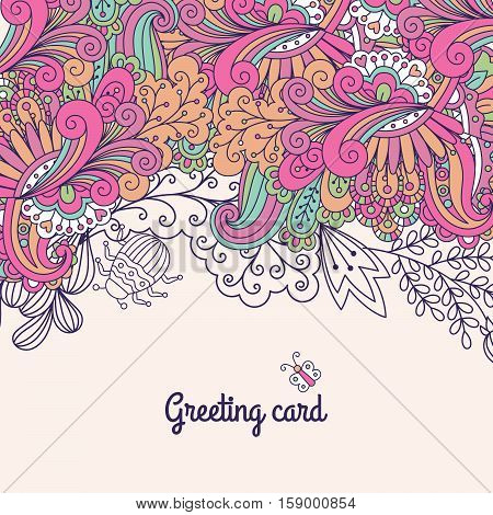 Greeting card with doodles and swirls, vector illustration