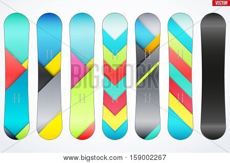 Set of Snowboard with different desigh. Modern Material design style. Vector Illustration Isolated on white background.