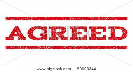 Agreed watermark stamp. Text tag between horizontal parallel lines with grunge design style. Rubber seal stamp with dust texture. Vector red color ink imprint on a white background.