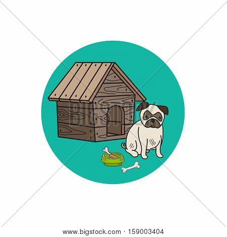 Dog kennel and mops, circle icon. Vector illustration