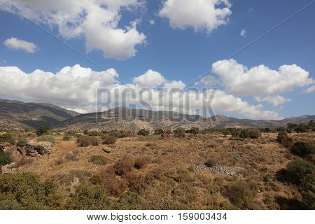 The Golan Heights with clouds in Israel