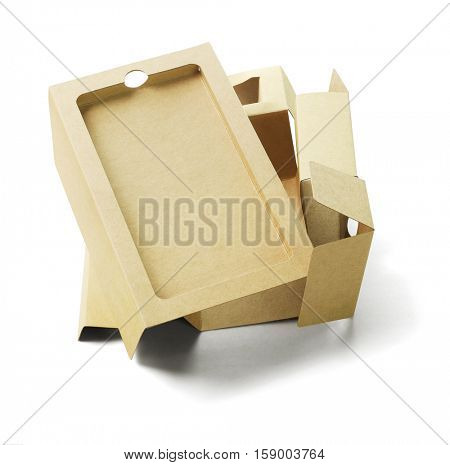 Discarded Smart Phone Packaging Cardboard For Recycling on White Background
