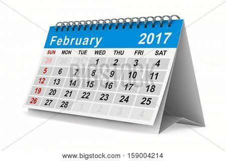 2017 year calendar. February. Isolated 3D image