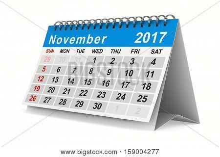 2017 year calendar. November. Isolated 3D image