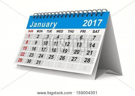 2017 year calendar. January. Isolated 3D image