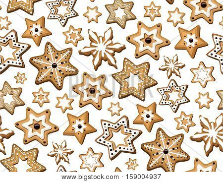 Gingerbread seamless pattern. Vector beautiful horizontal top view closeup design illustration isolated white background