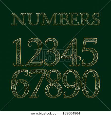 Golden ornate numbers with tendrils. Decorative patterned vintage font.