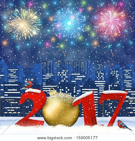 happy new year and merry Christmas Winter Cityscape with snow flakes. Christmas card with cityscape and fireworks, 2017 with christmas ball