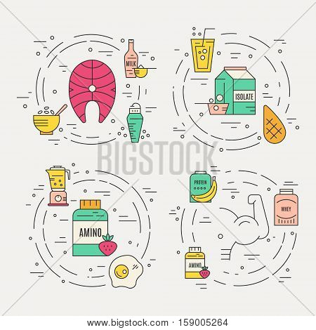 Sport nutrition or diet illustration made in vector. Healthy lifestyle series.