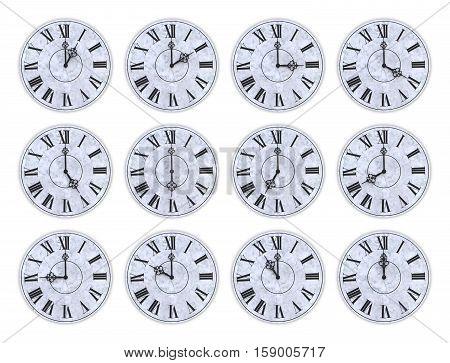 Twelve Clock Faces