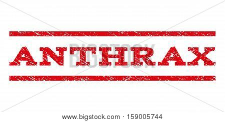 Anthrax watermark stamp. Text tag between horizontal parallel lines with grunge design style. Rubber seal stamp with dirty texture. Vector red color ink imprint on a white background.