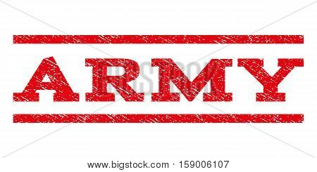 Army watermark stamp. Text caption between horizontal parallel lines with grunge design style. Rubber seal stamp with unclean texture. Vector red color ink imprint on a white background.