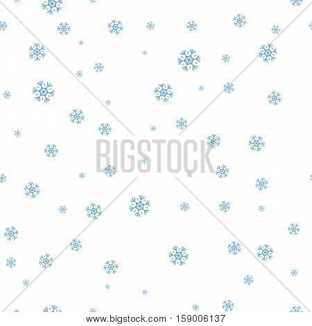 Snowflakes vector seamless pattern. Falling different size snowflakes on white background. Winter holidays season. For gift wrapping paper, greeting cards, invitations, web pages design