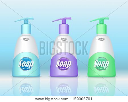 Set of soap bottle with spreader isolated. Cosmetic product flasks with logo or symbol on the nameplate. Reservoir with label. Part of series of decorative cosmetics items. Vector illustration