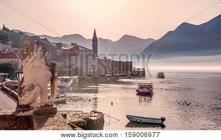 Perast, Montenegro- November 4, 2016: Perast town in Boka Bay Montenegro