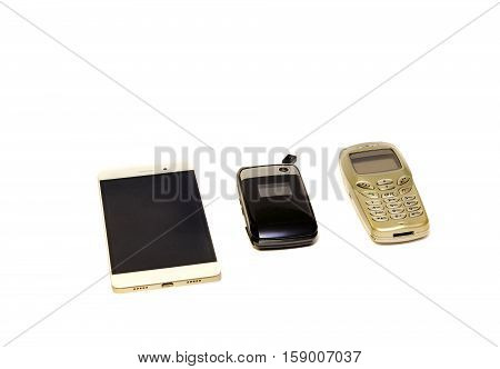 Cell phone evolution.three cell phones isolated on white background