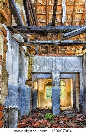 old abandoned destroyed house room ruins. colorful