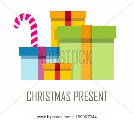 Ppile of colorful wrapped gift boxes. Mountain gifts sale. Beautiful Christmas present box with overwhelming bow. Gift box icon. Gift symbol. Christmas gift box. Isolated vector illustration