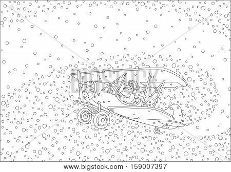 Black and white vector illustration of with Santa Claus flying his old wood airplane through snowfall