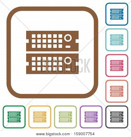 Rack servers simple icons in color rounded square frames on white background