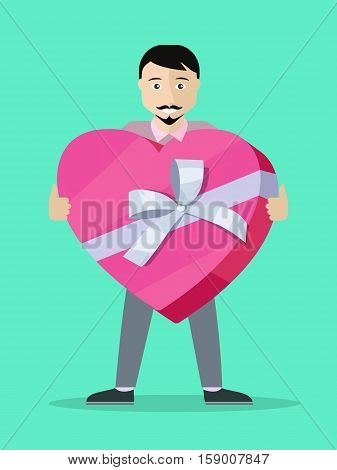 Giving present concept. Man standing with heart shaped gift box decorated ribbon and bow flat vector illustration isolated on green background. Birthday, valentine, christmas, mother s day celebrating