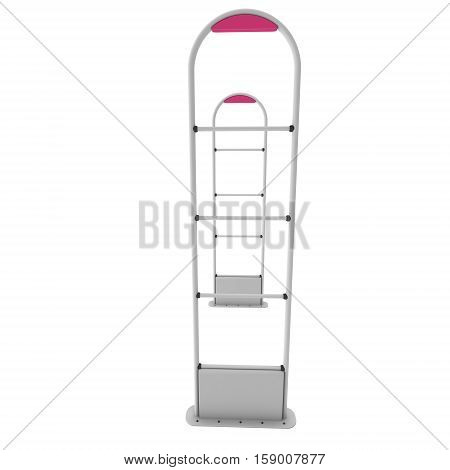 3D shop security anti-theft sensor gates. 3D render illustration of shoplifter scanner isolated on white background. Scanner entrance gate for prevent theft in shop or store. Security concept. poster