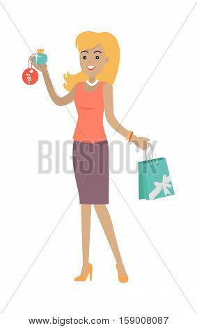 Woman buys perfume at discount price. Big sale concept. Sale of household appliances, cosmetics, jewelry. Perfume, perfume bottle, cosmetics, women perfume, fragrance, men perfume smell Vector