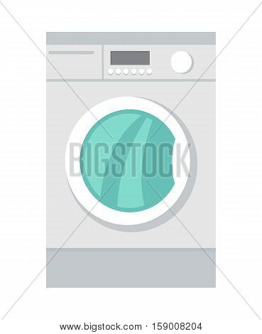 Washing machine in flat style isolated. Household appliances. Electronic device. Home appliances. Laundry, washing, washing machine. Electric clothes washer. Washer skid. Vector illustration