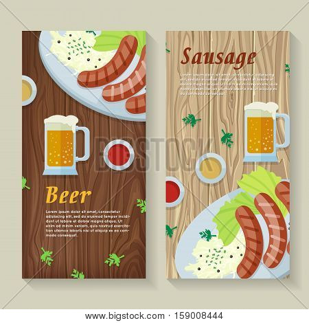 Sausage and beer web banners. Grilled Bavarian sausages on plate with garnish, sauce and pint of beer flat vector on wooden background. German national cuisine. Oktoberfest. For restaurant web page