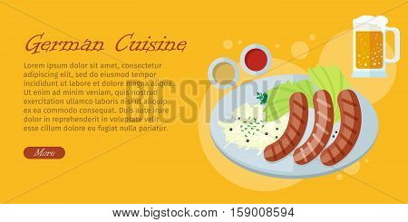 German cuisine web banner. Grilled Bavarian sausages on plate with vegetable garnish, sauce and pint of beer flat vector illustration. Oktoberfest. For restaurant web page design