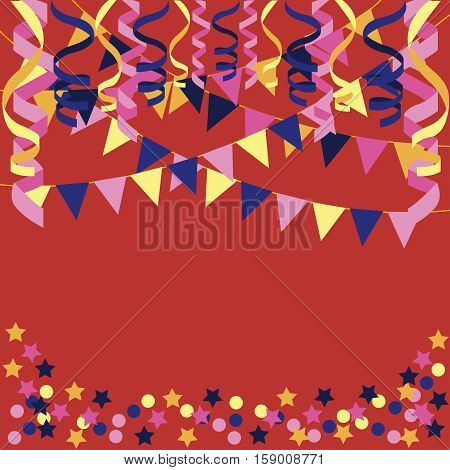 background with confetti, paper streamers and triangular party flags - vector