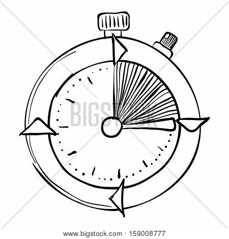 Stopwatch icon. Hand drawn illustration of stopwatch vector icon for web