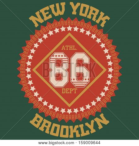 New york Brooklyn football typography t-shirt. New york College fashion design. New york sports Graphicsl - vetor