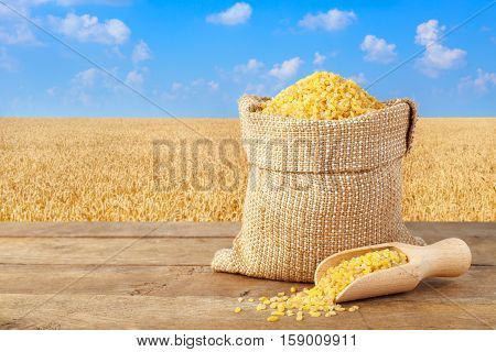 Bulgur or couscous in sack. Bulgur in bag on table with field of wheat on the background. Agriculture and harvest concept. Gold wheat field and blue sky