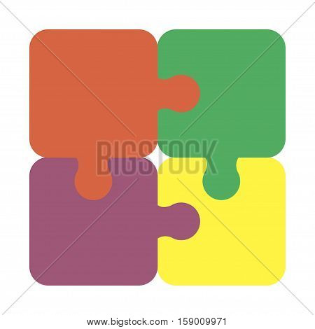 Four jigsaw puzzle pieces for multiple uses. Business concept idea teamwork success. Colorful vector jigsaw puzzle