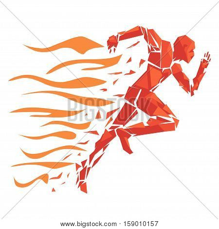 Fire running man icon - vector. Running man on fire disintegrating into triangles