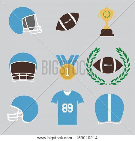 american football game sport icons set - vectors