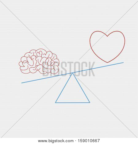 heart and brain on the scales - vector