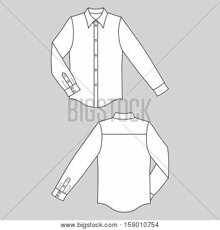 Long sleeve man's buttoned shirt outlined template (front & back view) vector illustration isolated on gray background