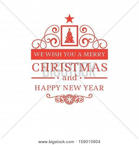 Merry christmas new year greetings vector photo bigstock merry christmas and new year greetings classic badge with red letters and simple clean design m4hsunfo