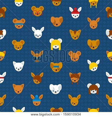Seamless background pattern of cute cartoon animal heads with a mouse rabbit bear dog and cat suitable for print and textile for kids vector illustration